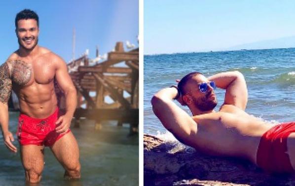 Мускули и червени бански от мъжете в поп-фолка